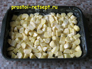 Запеченная курица с картошкой: добавляем майонез и соль