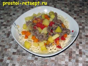 Как готовить лагман: готовое блюдо в тарелке