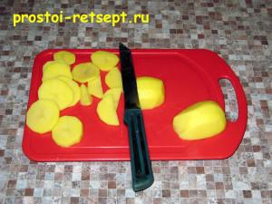 рыба с картошкой в духовке: картошку нарезать тонкими пластинками