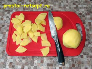 тортилья: картофель нарезать тонкими пластинками