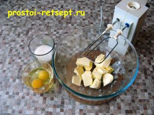рождественское печенье: масло смешать с сахаром и яйцами