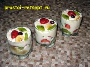 Десерт из творога с фруктами и ягодами