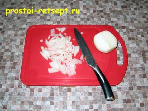 Рецепт винегрета: лук мелко нарезать