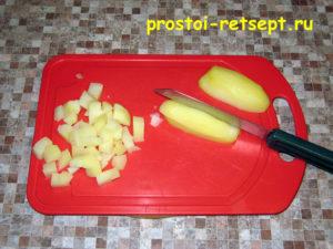 Рецепт винегрета: картофель нарезать кубиками