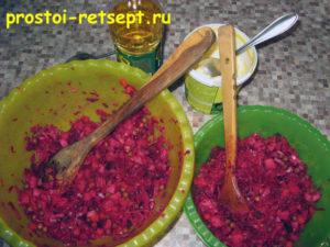 Рецепт винегрета: разделить на 2 части