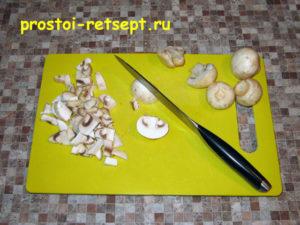 грибы нарезать кубиками